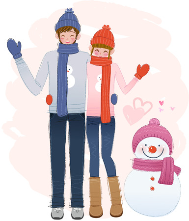 Romantic couple with snowman on winter day
