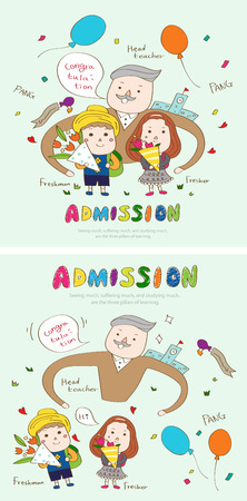 first year student: Admission congratulation story template with icons