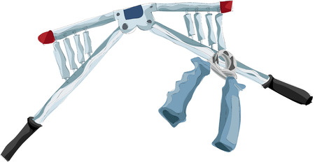 Painting of fitness equipment and handgrip Illustration