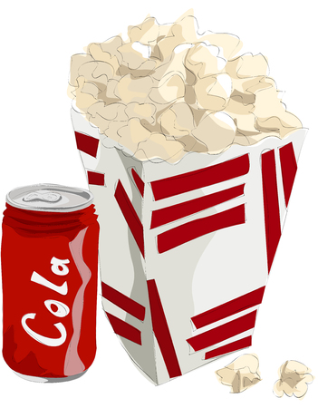 Painting of popcorn and coke 向量圖像