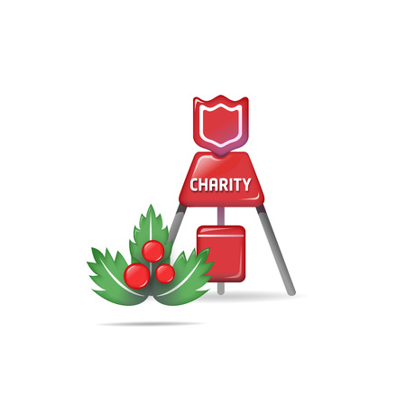Charity donation box icon - isolated on white Vettoriali