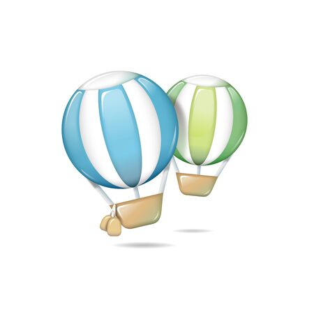 Hot-air balloon icon - isolated on white Illustration
