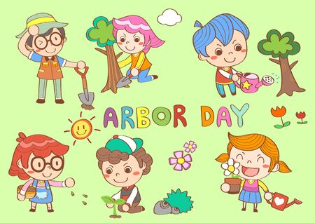Set of Happy people in arbor day Vettoriali