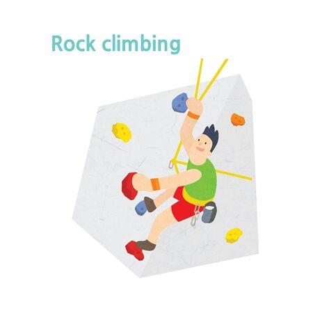 Mann , der eine Felswand klettert
