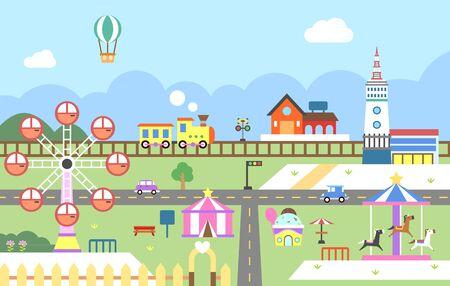 Amusement park illustration graphic design. Illustration