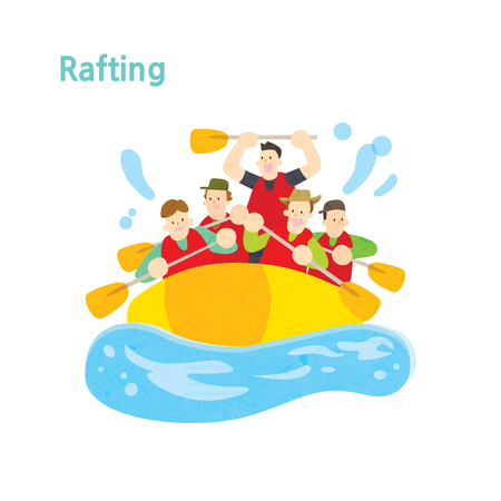 People rafting on summer vacation