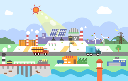 Set of Power plant illustration graphic
