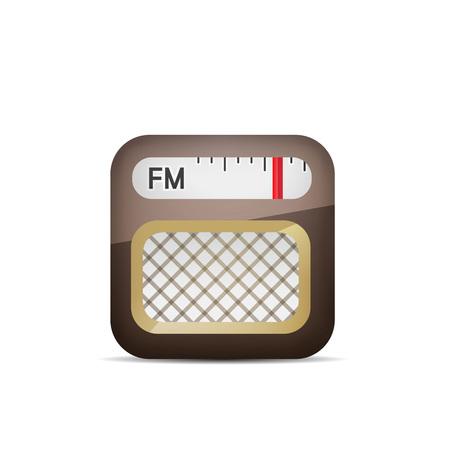 라디오 아이콘 - 화이트 절연 일러스트