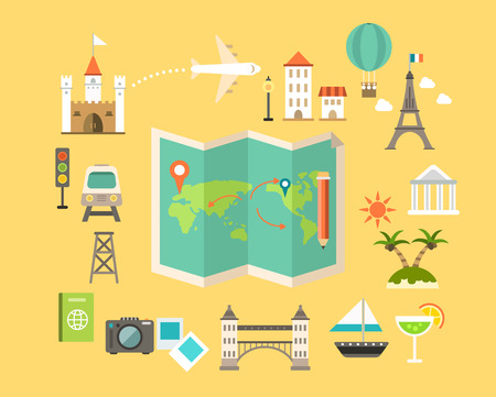 Set of travel Simple icon
