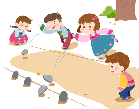 Children playing Korea traditional game