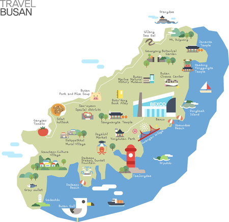 Map of Korea Busan with tour attraction