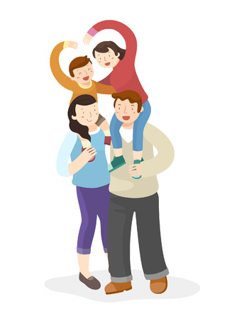 Happy family having good time Illustration