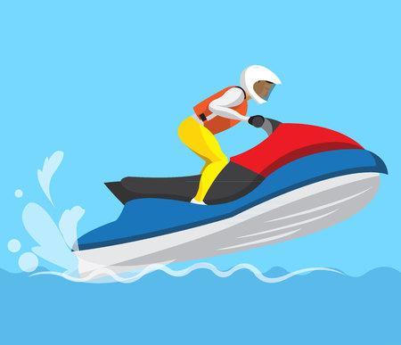 Man riding boat flat design Stock Illustratie