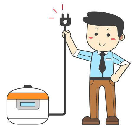 Man pulling the plug - saving energy Çizim