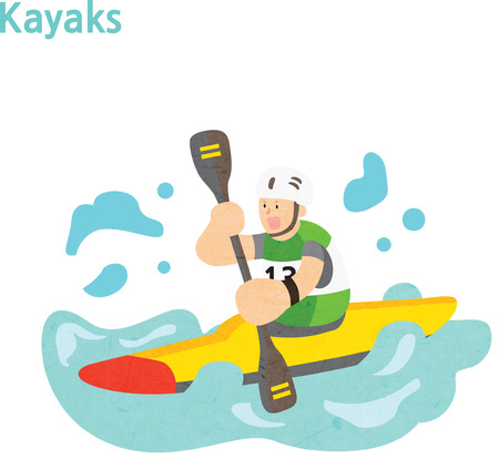 Man rowing a kayak boat Stock Illustratie