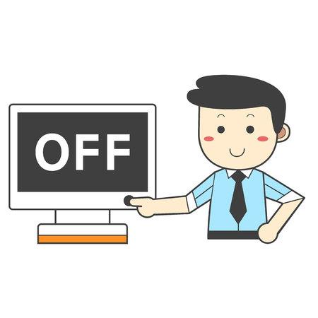 Man turning off the power - saving energy