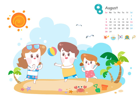 August with summer vacation Ilustrace
