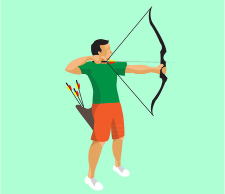 Man doing archery flat design