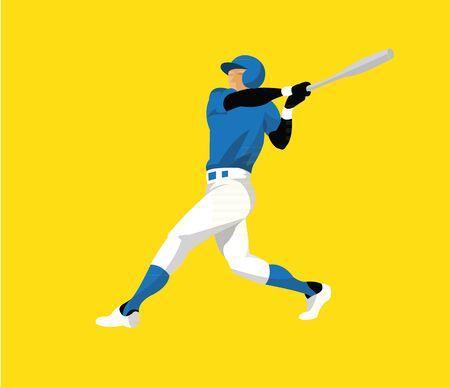 Man playing baseball flat design 向量圖像