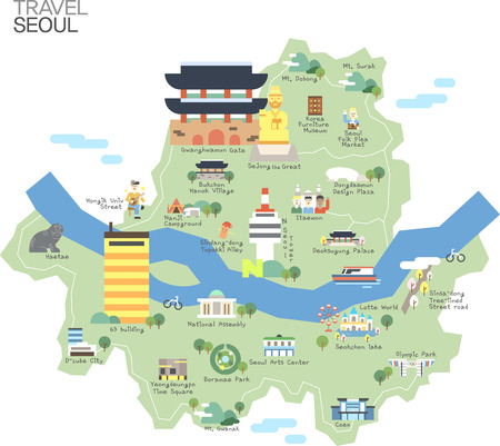 Map of Korea Seoul with tour attraction