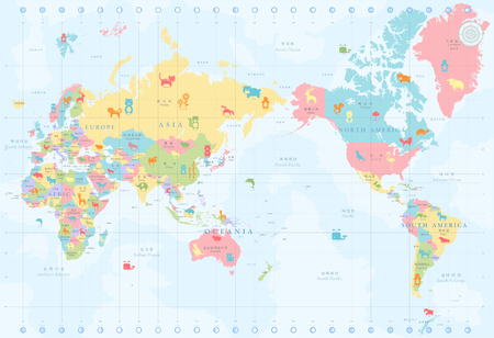 Map of the world with national animals Reklamní fotografie - 90231452