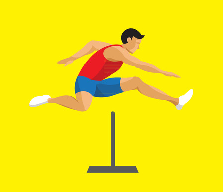 Man jumping hurdle flat design