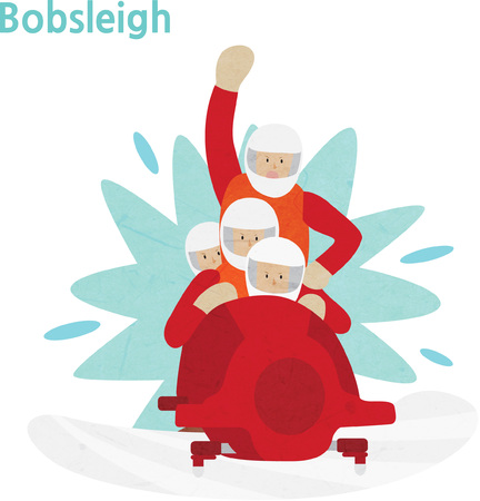 Young athletes during bobsleigh competition Illustration