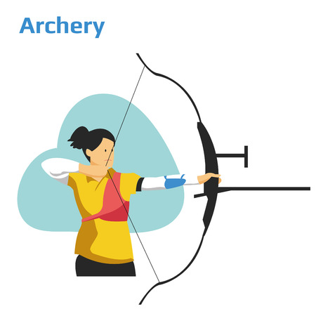 Athlete playing archery 向量圖像