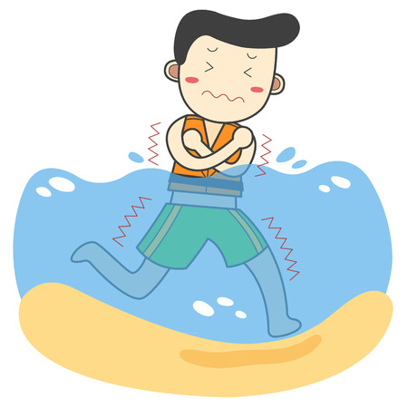 Young man feel cold in sea Illustration