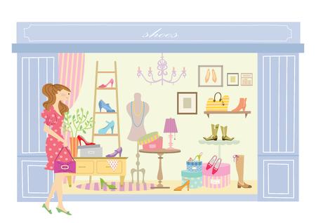 Woman looking in a shoe shop window Ilustração