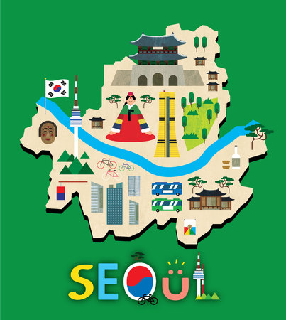 Seoul map with tourist attraction Vectores