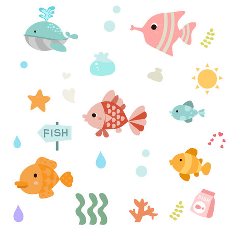 Set of cute fish