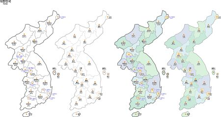 Two color Map of Korea