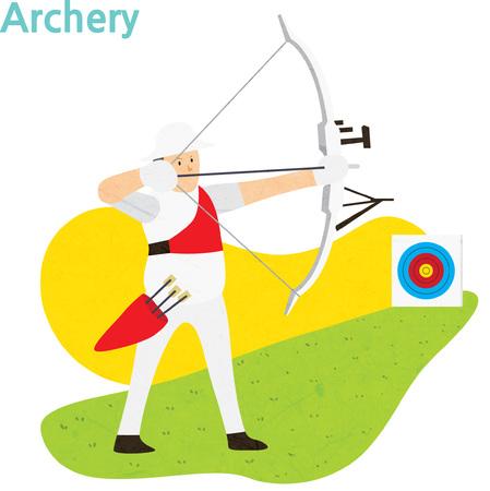 Jeune athlète archer avec un arc et flèche Banque d'images - 90298292