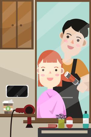 Mirror - Hairdresser make hairstyle customer