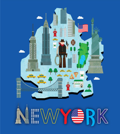 Carte de New York avec attraction touristique
