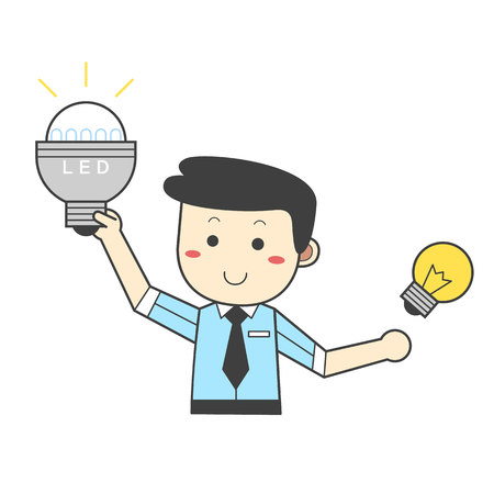 Man bevorzugt LED-Beleuchtung - spart Energie Standard-Bild - 90298775