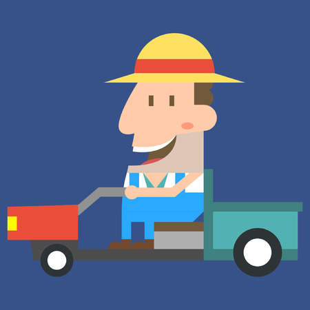 Farmer working on blue background Illustration