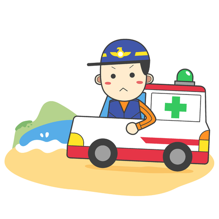 Ambulance prepared for accident on beach