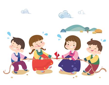 Kinderen spelen traditioneel Koreaans spel