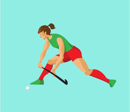 Woman playing field hockey flat design