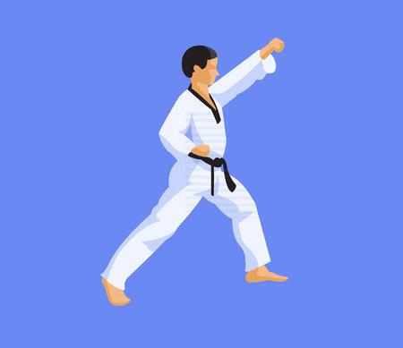 Man doing taekwondo flat design