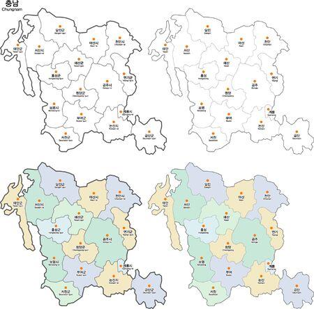 Map of Korea Chungcheongnamdo Ilustrace