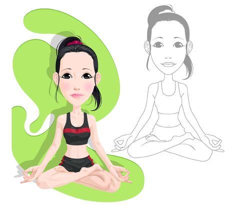 Beautiful woman meditating sketch