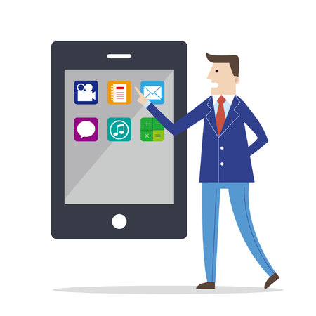 Businessman pointing at a smarphone with various application icons on