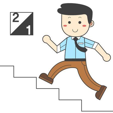 Man taking the stairs - saving energy