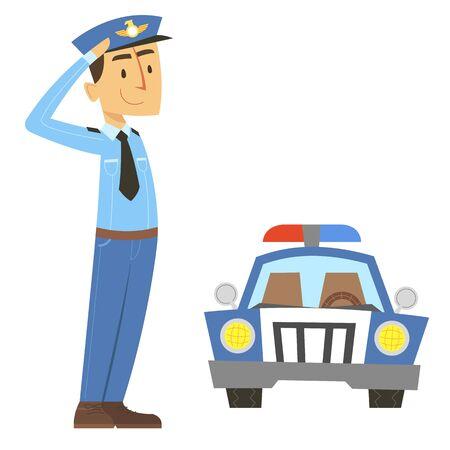 警察官が敬礼を与えて  イラスト・ベクター素材