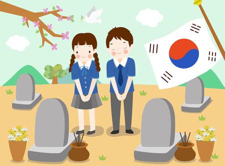 Students in Korea memorial day Ilustrace