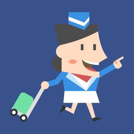 Stewardess with suitcase on blue background