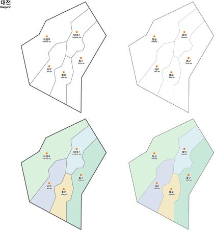 Map of Korea Daejeon Ilustrace